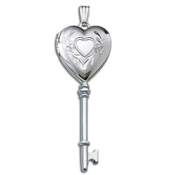 14k White Gold Genuine Diamond KEY Locket