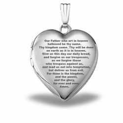Sterling Silver   Lord s Prayer  Heart Locket