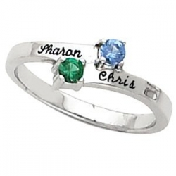 Sterling Silver Birthstone Personalized Promise Ring