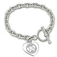 Sterling Silver Personalized Double Heart Message W/ Toggle Lock
