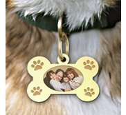 Photo Engraved Dog Bone Photo Pendant