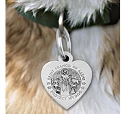 Saint Francis of Assisi    Protect My Dog   Heart Shaped Pet Tag