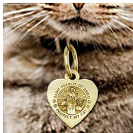 Saint Francis of Assisi     Protect My Cat   Heart Shaped Pet Tag