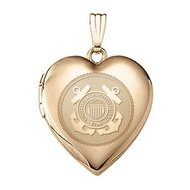 14k Yellow Gold Heart Coast Guard Picture Locket