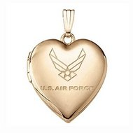 14k Yellow Gold Heart Air Force Picture Locket