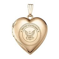 14k Yellow Gold Heart Navy Picture Locket