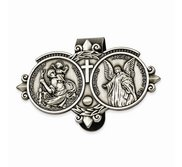 Saint Christopher   Guardian Angel Religious Metal Visor Clip