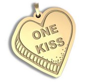 One Kiss   Candy Heart Pendant or Charm
