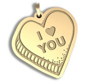 I Heart You  Candy Heart Pendant or Charm