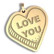 Love You   Candy Heart Pendant or Charm