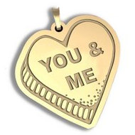 You And Me   Candy Heart Pendant or Charm