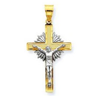 14K Two Tone Gold Diamond cut Crucifix w Sunrays Pendant