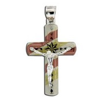Sterling Silver Tri color Crucifix Cross Pendant