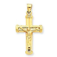 14k Yellow Gold Reversible Hollow Crucifix  Cross Pendant