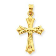 14k Yellow Gold Hollow Reversible Crucifix  Cross Pendant