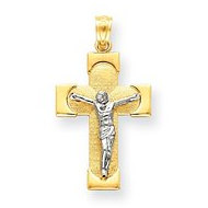 14k Two tone Gold Crucifix Charm