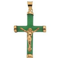 GREEN JADE ROUND CRUCIFIX