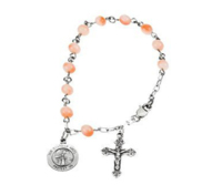 Sterling Silver Round Pink Coral  Guardian Angel  Rosary Bracelet
