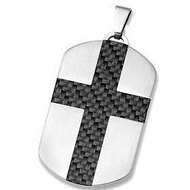 Stainless Steel Dog Tag Pendant with Carbon Fiber Cross   G lock