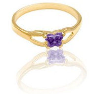 Bfly Blue Amethyst  Februrary  Birthstone Ring