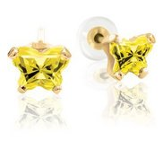 Bfly Citrine  November  Birthstone Earrings  With Safety Back