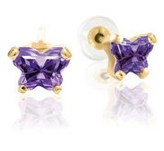 Bfly Alexandrite  June  Birthstone Earrings  With Safety Back