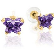 Bfly Amethyst  Februrary  Birthstone Earrings  With Safety Back
