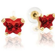 Bfly Ruby  July  Birthstone Earrings  With Safety Back