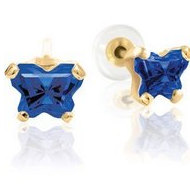 Bfly Sapphire  September  Birthstone Earrings  With Safety Back