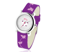Bfly Amethyst  Feburary  Adjustable Children s Birthstone Watch