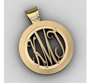 Round Monogram Script Cut Out Pendant