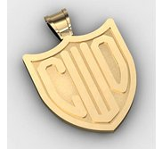 Badge Monogram 3 Letter Block Deep Engrave Pendant