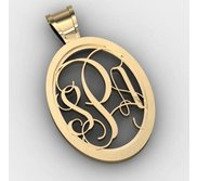 Oval Monogram 3 Letter Vine Cut Out Pendant