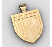 Patriotic Shield Monogram 3 Letter Block Deep Engrave Pendant