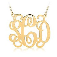 Outlined Vine Script 3 Letter Monogram Cut Out Pendant