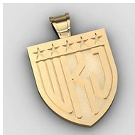 Patriotic Shield Monogram 3-Letter Block Deep Engrave Pendant