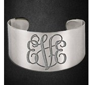 Stainless Steel Women s Fancy Cuff Monogram Bangle Bracelet