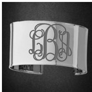 Sterling Silver Fancy Cuff Monogram Bangle Bracelet