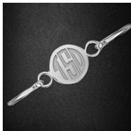 Sterling Silver  Monogram Bangle with Round Plate Bracelet