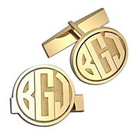 Circle Monogram Block Cuff Links