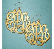 Monogram Fancy Script Earrings w  Kidney Wire
