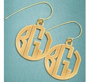 Monogram Block Round Cut Out Earrings w  Kidney Wire