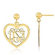 Heart Shaped Monogram Vine Script Post Dangle Earrings