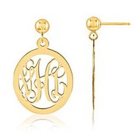 Oval Shaped Monogram Vine Script Post Dangle Earrings