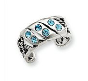 Sterling Silver Antiqued Blue Swarovski Crystal Toe Ring