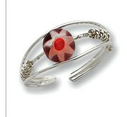 Sterling Silver Red Bead Toe Ring