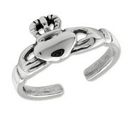 Sterling Silver Antiqued Claddagh Toe Ring