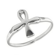 Sterling Silver Ankh  Egyptian Cross  Toe Ring
