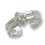 Sterling Silver CZ Floral Toe Ring