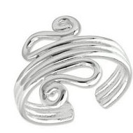 Sterling Silver Polished Scroll Toe Ring